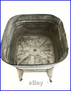 VINTAGE Wheeling Galvanized Metal Single Wash Tub Basin on Wheeled Base