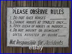 VTG 1940's ORIGINAL Horse/ Stable/ Horseback Riding Large METAL SIGN. 22 x 14