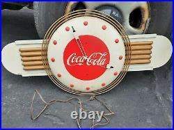 VTG 1940s Art Deco Coca-Cola Promo Clock Sign Metal, Wood, Masonite HUGE 18X36