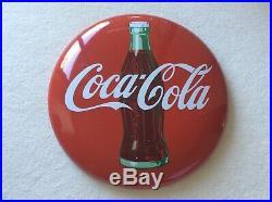 VTG 1950s Coca Cola 24 Porcelain on Metal Button Sign