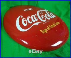 VTG Drink Coca Cola 16 Button Porcelain Sign of Good Taste COKE AM80 Metal RARE