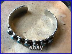 VTG J. BEGAY Signed Sterling Silver Native American Turquoise Cuff Bracelet