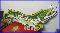 VTG Muskelager Musky Beer Bar Tavern Fishing Gas Oil 49 Embossed Metal Sign