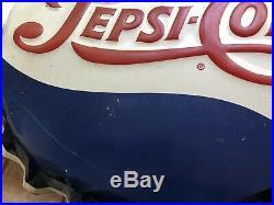 VTG Pepsi-Cola 19 Embossed Metal Bottle Cap Gas Station Advertising Sign Soda