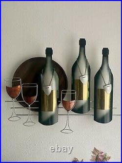 VTG SIGNED C. Jere Mid Century Modern Brass Metal Wine Bottle & Glass Wall Art