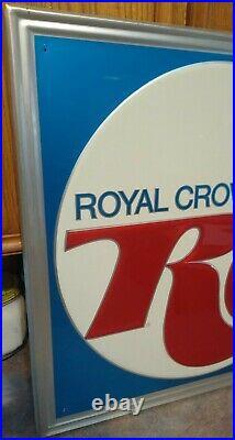 Very RARE Vintage ROYAL CROWN COLA RC Large Embossed Metal SIGN. NOS & NICE