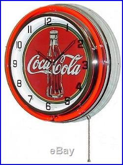 Vintage 18 COCA COLA Metal Sign Neon Wall Clock Night Light Retro 1030's Bottle