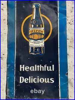 Vintage 1920-30's Hires Root Beer Soda Pop Gas Station 28 Embossed Metal Sign