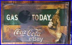 Vintage 1920'S EMBOSSED Coca Cola COKE Gas Metal Advertising Sign OIL