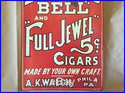 Vintage 1920's AK Walch Diamond Bell Full Jewel 5c Cigar Tobacco 14 Metal Sign