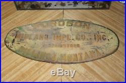 Vintage 1920's Fordson IMP 18 Embossed Metal Farm Sign Midland Billings Montana