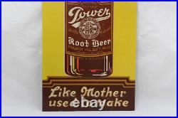 Vintage 1920's Tower Root Beer Soda Pop Gas Station 19 Embossed Metal Sign
