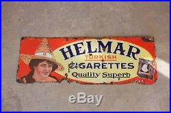 Vintage 1920s Helmar Cigarettes Tobacco 27 1/2 Porcelain Metal Sign