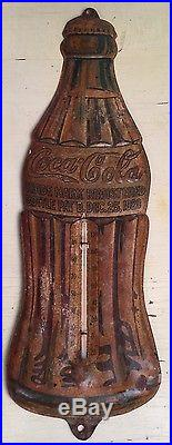 Vintage 1923 Metal Coca Cola Bottle Thermometer Sign Christmas Day 1923