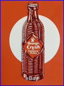 Vintage 1930's CRUSH ORANGE SODA Embossed Metal Sign B-769 Rare NICE