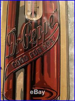 Vintage 1930's DR PEPPER Soda Pop, 10 2 4, 17 Metal Thermometer Sign Embossed