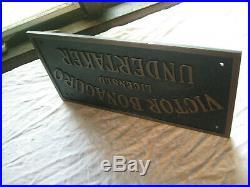 Vintage 1930's Funeral Home Undertaker Metal Plauque