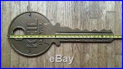 Vintage 1930's Keil Keys New York 2 Sided 27 1/4 Hanging Cast Metal Trade Sign