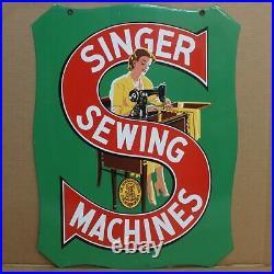 Vintage 1930's Singer Sewing Machine Porcelain Metal 2-Sided Sign EXCELLENT COND
