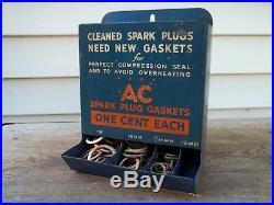 Vintage 1930s AC Spark Plug Gaskets 1 Cent Each Metal Display Rack Sign + Parts