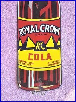 Vintage 1936 RC Royal Crown Cola Nehi Bottle Sign Metal Advertising Gas Oil Soda