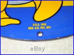 Vintage 1939 Donald Duck Sunoco Oil 11 3/4 Porcelain Metal Gasoline Sign Disney