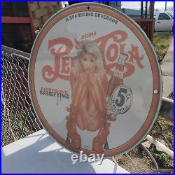 Vintage 1940 12 OZ Bottle's Sparkling Pepsi Cola Porcelain Gas & Oil Metal Sign