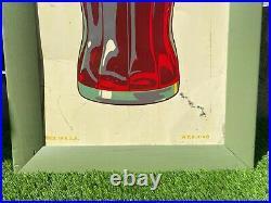 Vintage 1940 Coca Cola Framed Metal Bottle Sign Soda Pop Gas Station 19 x 37