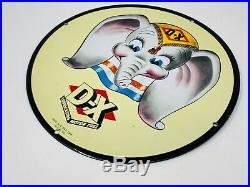 Vintage 1940 Walt Disney Dumbo D-x Sign 12 Porcelain Metal DX Gasoline Oil Sign