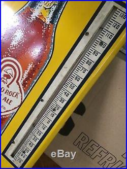 Vintage 1940's Buffalo Rock Ginger Ale Soda Pop 26 x 10 Metal Thermometer Sign