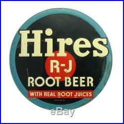 Vintage 1940's Hires R-J Root Beer Soda Pop Gas Station 12 Embossed Metal Sign