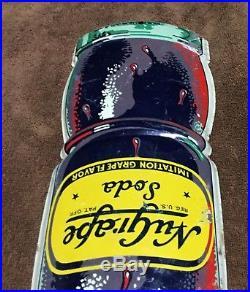 Vintage 1940's NuGrape Nu Grape Soda Pop Bottle Gas Oil 17 Embossed Metal Sign