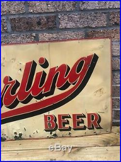 Vintage 1940's Sterling Beer Metal Tin Sign Evansville Not Porcelain