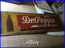 Vintage 1940s Dr. Pepper ALL ORIGINAL ADVERTISING METAL SIGN 54 X 18