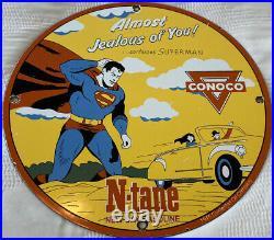 Vintage 1945 Superman N Tane Conoco Gasoline 12 Porcelain Metal Comic Oil Sign