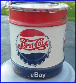 Vintage 1947 Pepsi Cola 10 Gallon Metal Can / Syrup Drum / Pristine With LID