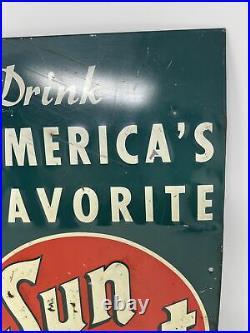Vintage 1947 Sun Spot Orange Soda Pop 15 Embossed Metal Sign