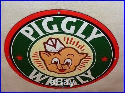 Vintage 1948 Piggly Wiggly Grocery Store 11 3/4 Porcelain Metal Pig Gas Sign