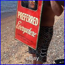 Vintage 1948 Vertical Budweiser Preferred LG Metal Beer Sign With Bottle 54inX18in