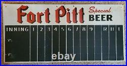 Vintage 1949 Collectible Fort Pitt Beer Advertising Metal Baseball Football Sign
