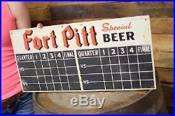 Vintage 1949 Pittsburgh Pirates / Steelers Fort Pitt Beer Metal Scorecard Sign