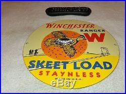 Vintage 1949 Winchester Skeet Load Gun Ammo 12 Porcelain Metal Gas Bullet Sign