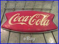 Vintage 1950-60s Original Drink Coca Cola Coke Metal Sign with Stand Racks