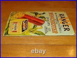 Vintage 1950 Ranger W Winchester Shotshell 16.5 Porcelain Metal Shotgun Sign