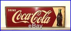 Vintage 1950'S DRINK COCA COLA ARROW TIN SIGN SODA METAL BOTTLE Coke