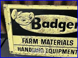 Vintage 1950's Badger Farm Equipment Tractor Seed Feed 18 Embossed Metal Sign
