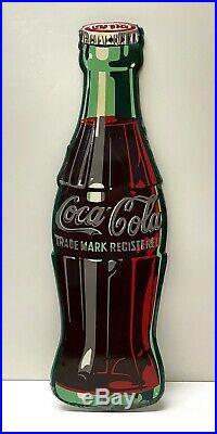 Vintage 1950's Coca Cola Coke Bottle Embossed Metal Tin Sign