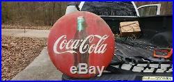 Vintage 1950's Coca Cola Soda Pop Gas Station 24 Porcelain Metal Button Sign