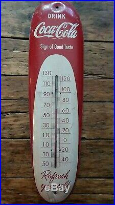 Vintage 1950's Coca Cola metal thermometer sign