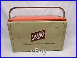 Vintage 1950's Cronstroms Metal Schlitz Beer Picnic Cooler Mid Century sign old